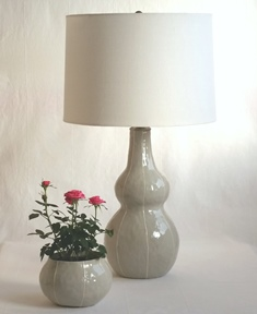 VIT Ceramics Tall Gourd Lamp With Custom Designed, Off White Linen Shade.  Top Quality Hardware Finishes Each Piece Classic Modern Style Handmade In  Seattle